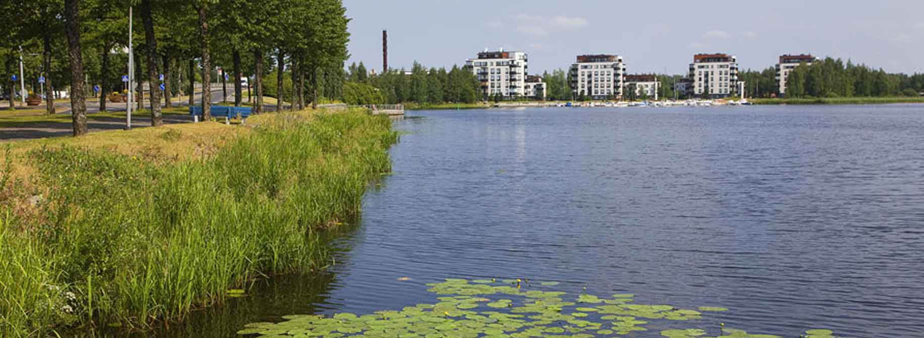 Landscape photo Hameenlinna apartment buildings in the background