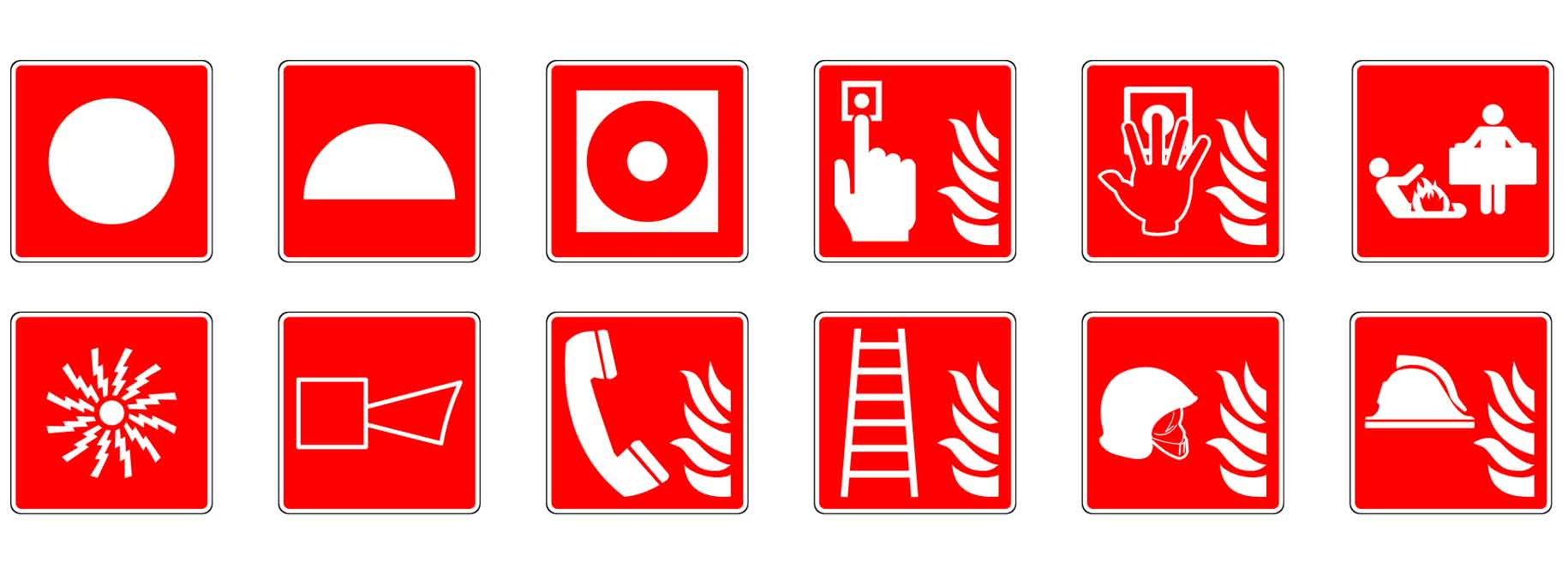 different fire safety symbols
