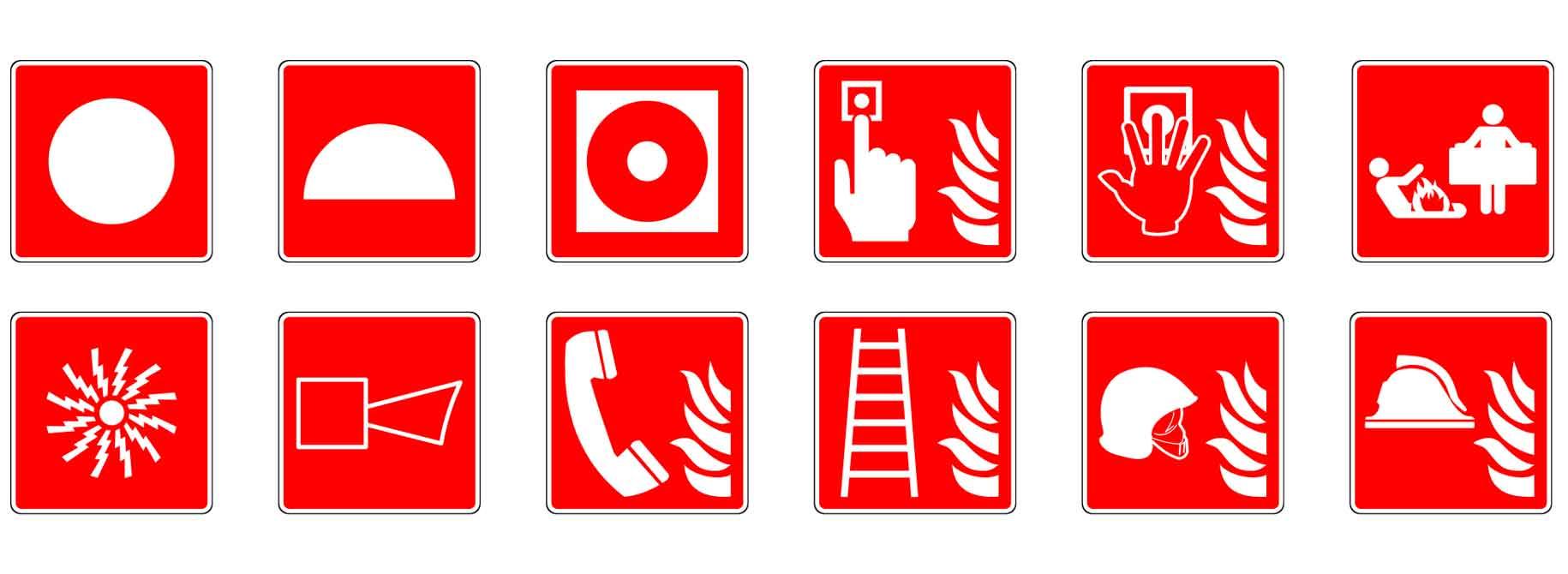 Erilaisia paloturvallisuussymboleja