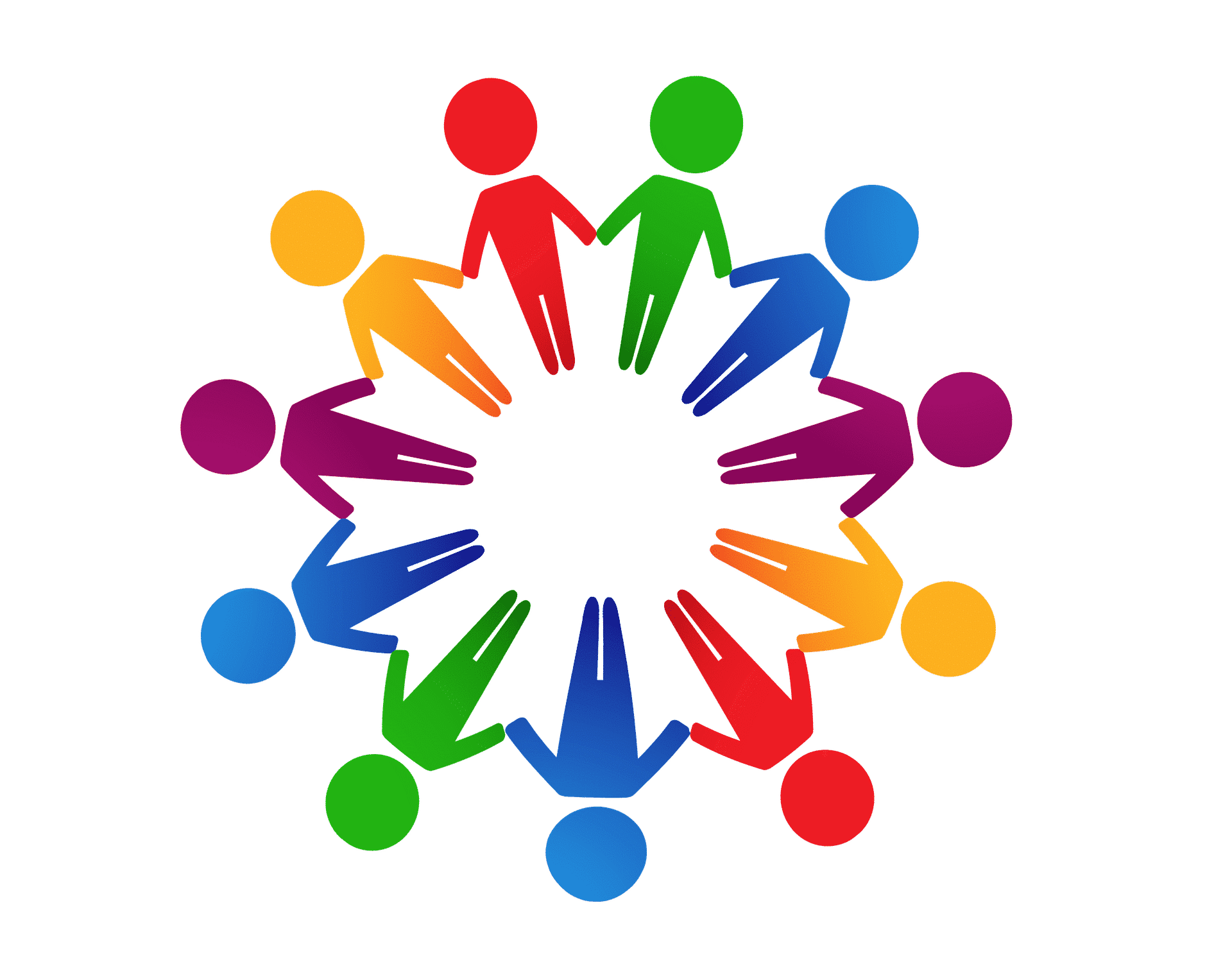 colourful human figures in circle holding hands