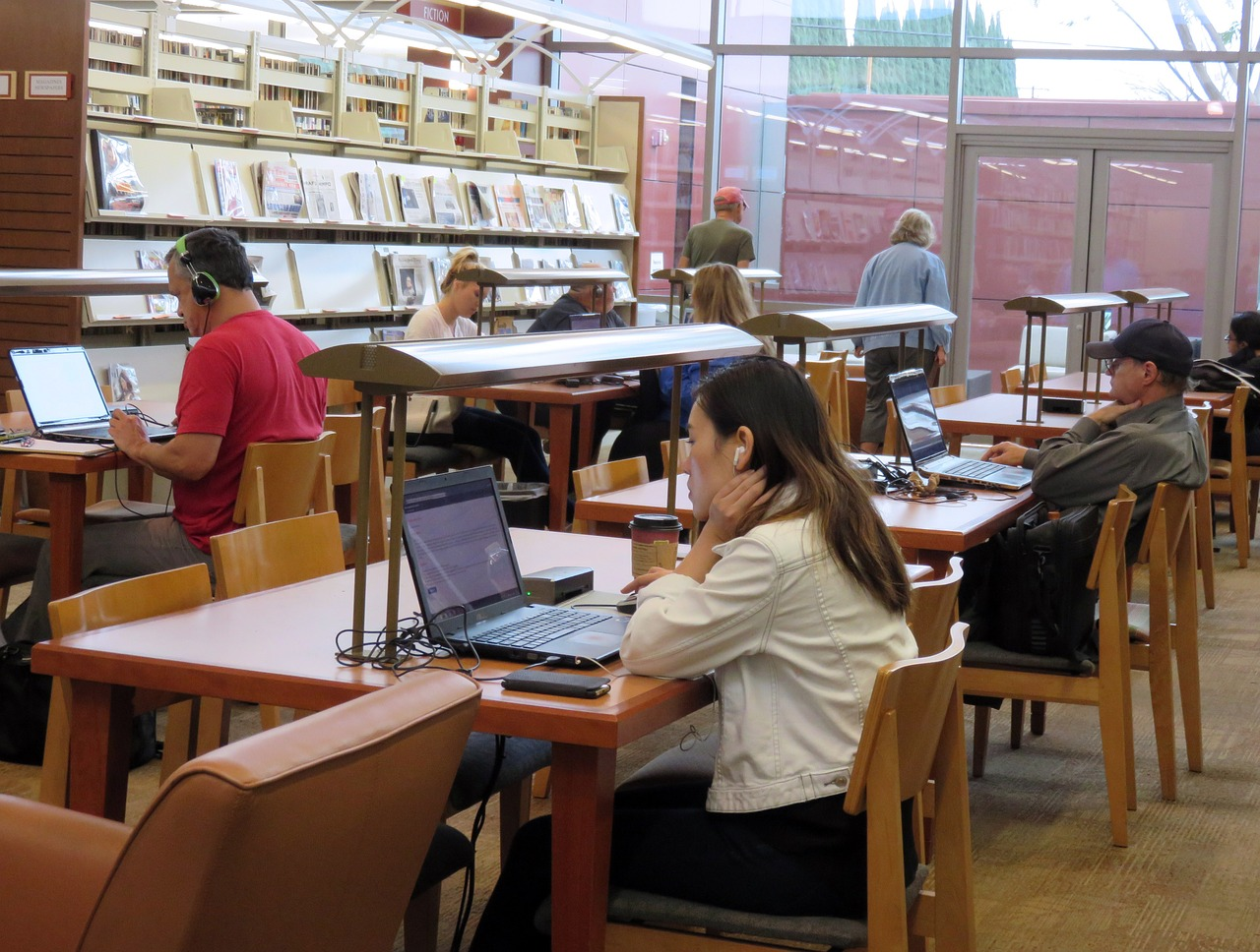 people studying in reading room