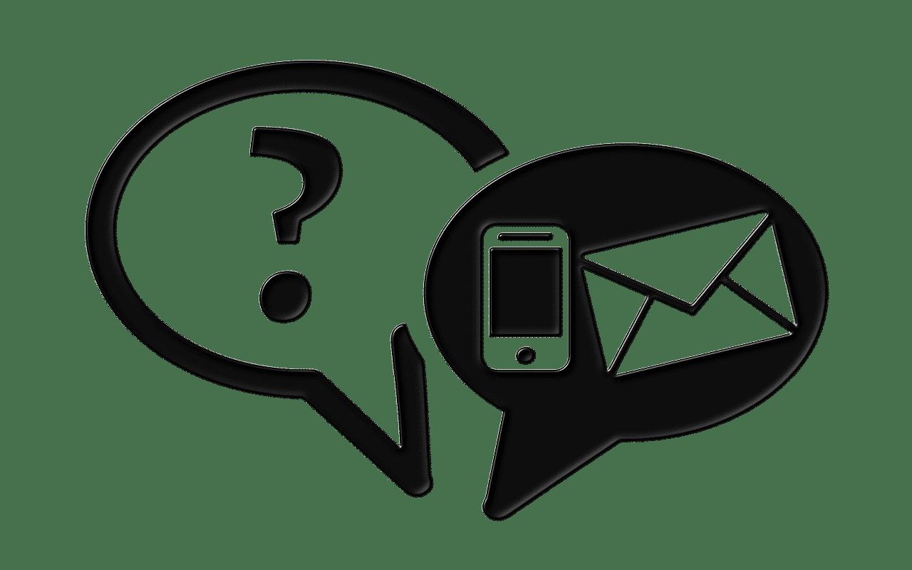 Kuvake, kysymysmerkki ja puhelin ja kirjekuori