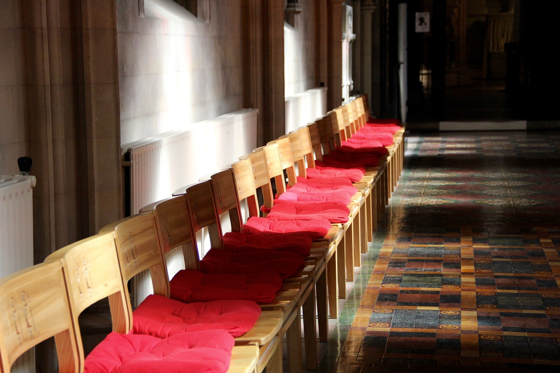 picture of line of chairs in a parish