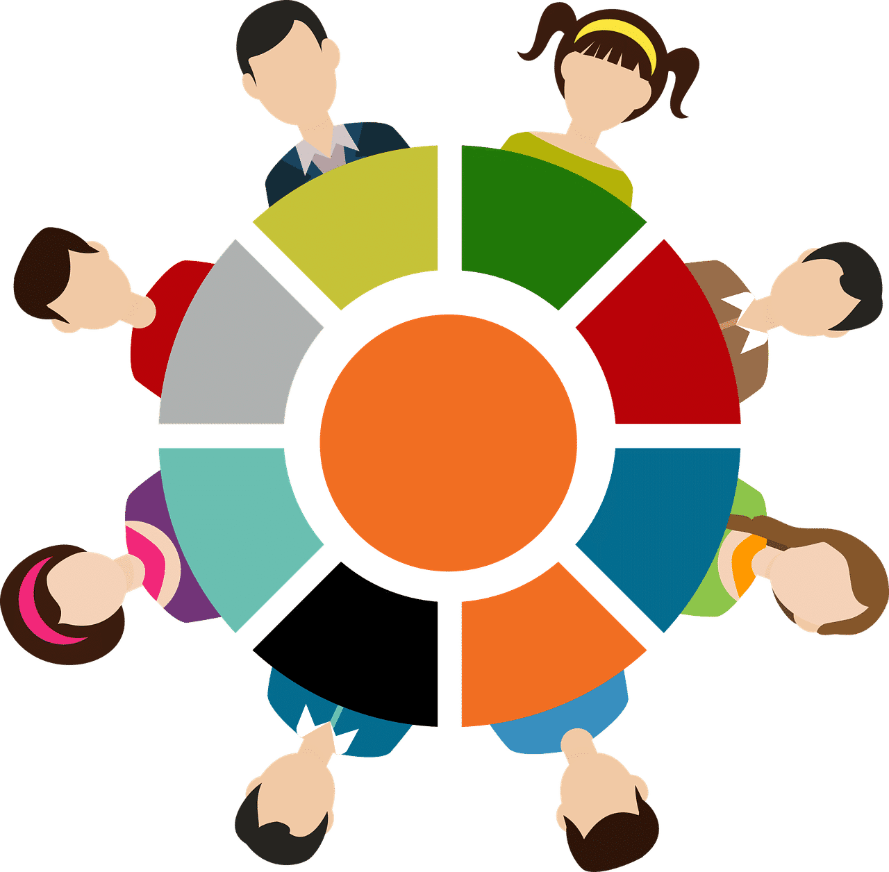 colourful human figures around round table