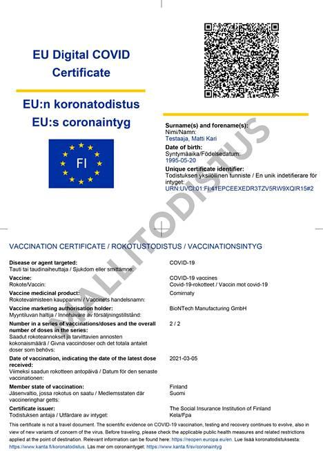 Sample of the EU COVID-19 vaccination certificate